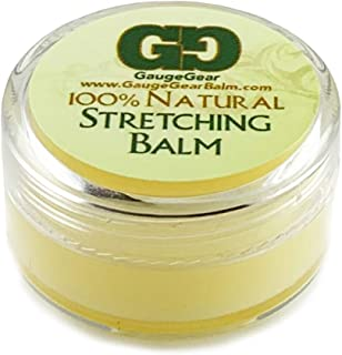 Gauge Gear Ear Stretching Balm | 10 ml Jar | Stretch Lubricant for Plugs and Tapers | Piercing Aftercare | Stretched or Damaged Skin Care | All Natural Moisturizing Salve w/Jojoba