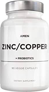 Zinc & Copper Supplement + Probiotics – 3 Months Supply – One Per Day - 50 mg Zinc Picolinate Vitamin Pills - Essential Mi...