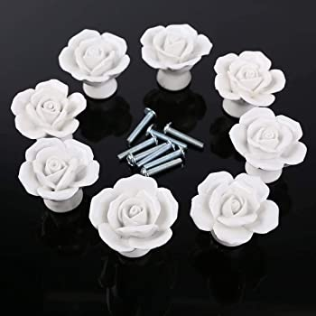 Auped 8pcs Pomelli in ceramica a forma di rosa stile vintage per porte cassetti armadietti e cassetti con vite per decorare la casa bianca