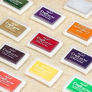 Kesote Tampons Encreur, 15 Couleurs Tampon Encreur Non-Toxique pour Tampons en Caoutchouc Bricolage DIY Scrapbooking