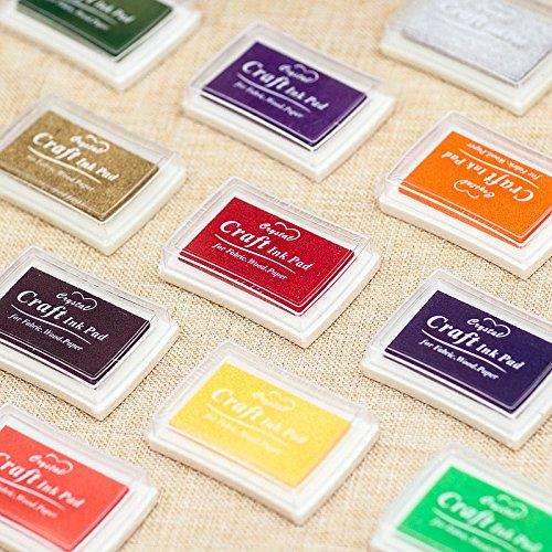 Kesote Tampone per Timbri di 15 Colori Assortiti Tampone di Spugna con Inchiostro Solubile nell'Acqua Inkpad Multicolore per Pittura, Fai-da-Te, Uso in Ufficio o Casa …