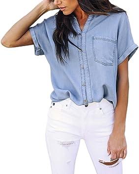 MINXINWY Camisas Camisetas Mujer Verano Originales, Moda Camisetas de Manga Corta Mujeres Camiseta de Mezclilla Camiseta con Cuello en V con Bolsillo ...