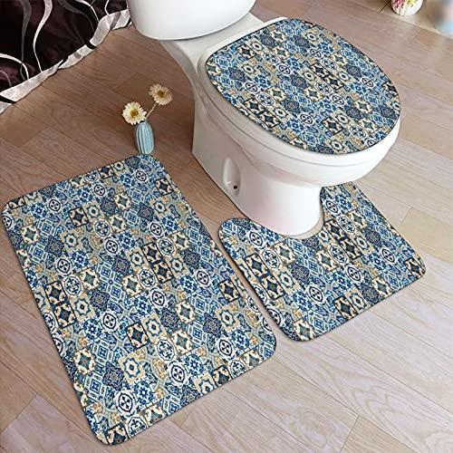 Juego de alfombras de baño de 3 piezas,Patrón de mosaico con motivos de azulejos tradicional,Alfombrilla de inodoro con contorno en forma de U,lavable a máquina,antideslizante,para bañera,ducha,baño