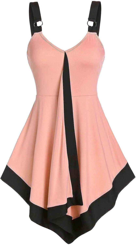 Tank Tops for Women Summer V Neck Sleeveless Shirts Spaghetti Strap Camisole Tie Dye Swing Tank Beach Cover Up Dress