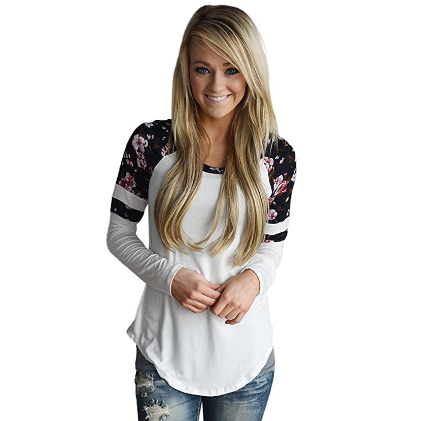STORTO Women Floral Splice Printing Tops Long Sleeve Round Neck Pullover Blouse T Shirt