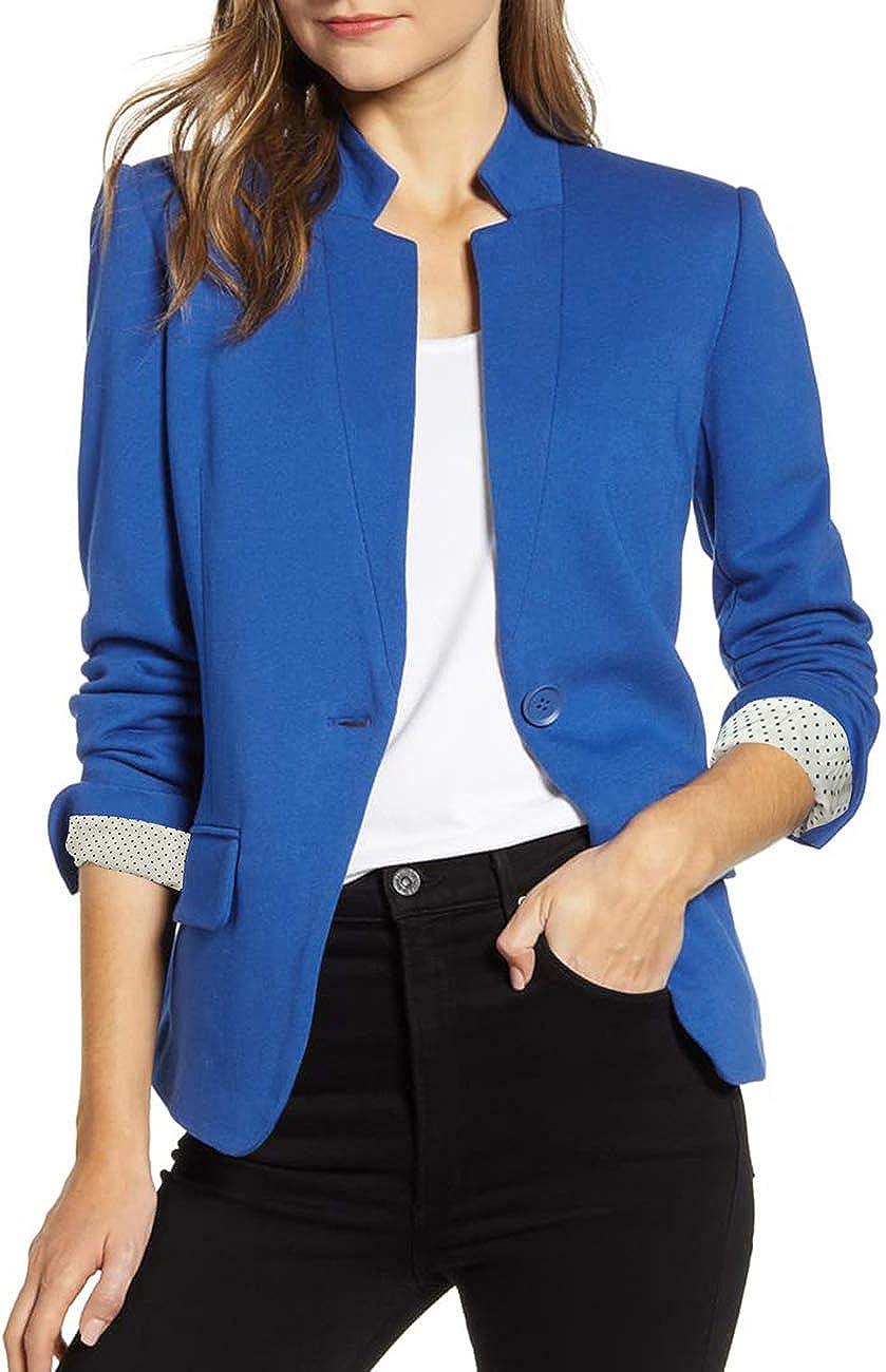 Vetinee Women's Open Front Pocket Blazer Long Sleeve Work Office Cardigan Jacket at  Women's Clothing store