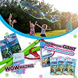 WOWMAZING Giant Bubble Wands Kit & 3-pack bubble refills: Includes Wand, 5 Big Bubble Concentrate pouches and Tips & Trick Booklet   Outdoor Toy for Kids, Boys, Girls   Bubbles Made in The USA