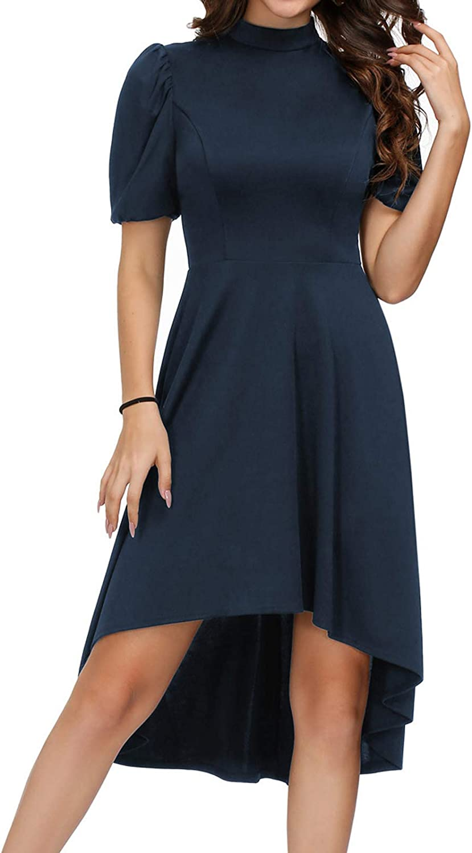 KANCY KOLE Women Puff Sleeve Cocktail Dress Mock Neck High Low A-line Party Swing Dresses S-2XL