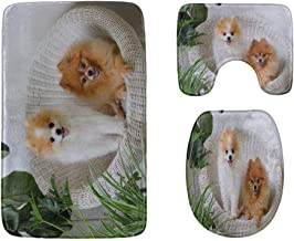 Cute and Playful Pomeranian Bathroom Rug Mats Set 3-Piece,Soft Shower Bath Rugs,Contour Mat and Toilet Seat Lid Cover Non-...
