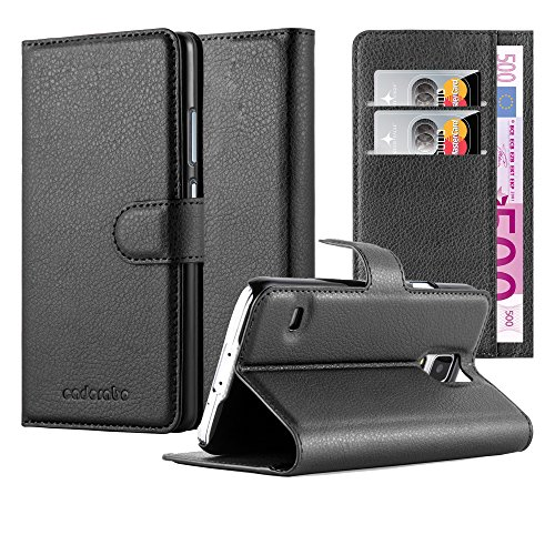 Cadorabo Hülle für Samsung Galaxy S5 / S5 NEO in Phantom SCHWARZ - Handyhülle mit Magnetverschluss, Standfunktion und Kartenfach - Case Cover Schutzhülle Etui Tasche Book Klapp Style