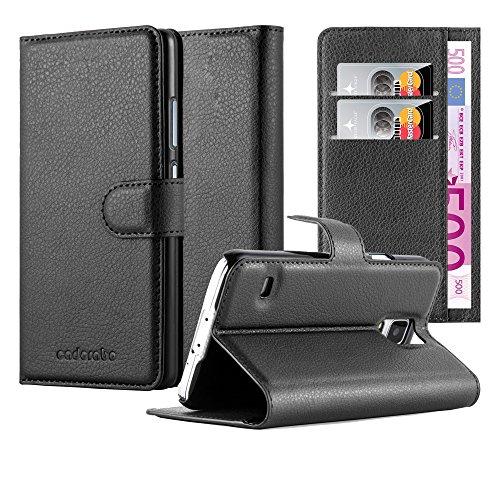Cadorabo Hülle für Samsung Galaxy S5 / S5 NEO - Hülle in Phantom SCHWARZ – Handyhülle mit Kartenfach und Standfunktion - Case Cover Schutzhülle Etui Tasche Book Klapp Style