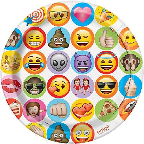 Unique Party - Platos de Papel - 23 cm - Diseño de Emoji - Paquete de 8 (50915)