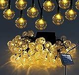 Luces de Cadena - 39 pies 100 LED IP65 Impermeable Energía Solar Al Aire Libre Luces Solares Guirnaldas - Decoración Luces de Cadena Globos para Jardines, Casa, Bodas y Navidad (Blanco cálido)