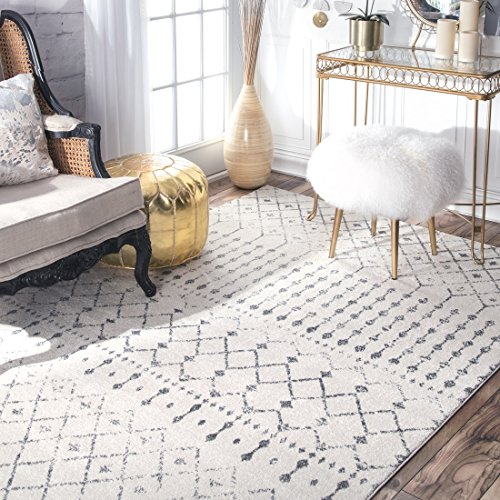 nuLOOM Moroccan Blythe Area Rug, 8' 10' x 12', Grey/Off-white