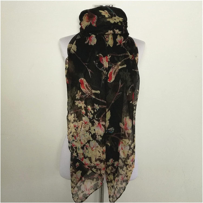 CHHNGPON Scarf Magpie Bird Bargain Print Sc Viscose Women Flower Scarves Max 62% OFF