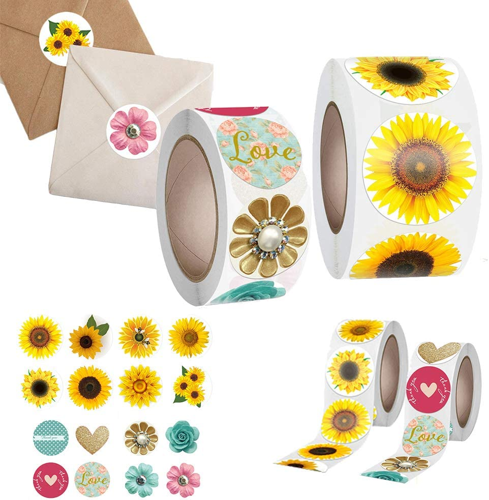 1000 Pieces Sunflower Round Adhesive Labels,Vintage Flower Stickers Roll for Cards Envelope Gift Boxes Envelope Seals Stickers(2 Rolls ): Kitchen & Dining