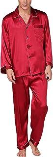 HX fashion Men's Nightwear Spring Summer Long Sleeve Lapel Breathable Pajama Comfortable Sizes Set Comfortable Soft Silk H...
