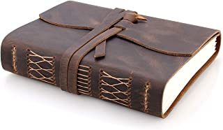 distressed brown leather journal with tie fastener