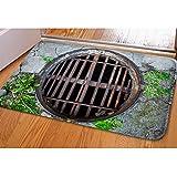 3D Vivid Manhole Cover Soft Flannel Entry Way Rug Indoor/Outdoor Doormat Floor Mat Christmas Decorative