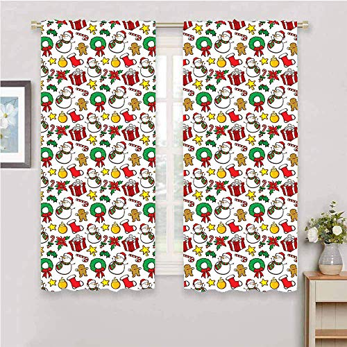Anyangeight Christmas Window Curtain Festive Celebration of Xmas Garland Candy Cane Snowman Mistletoe Tree Ornaments Thermal, Light Filtering Multicolor for Kitchen Windows 52'x63'Inch