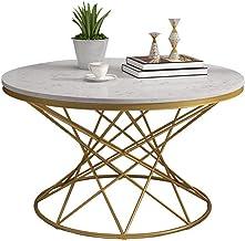 HTTXCJ Iron Art Center Tables|Round Tea Coffee Table|High-Grade Living Room Furniture|White Marble Top|Creative Home Decor...