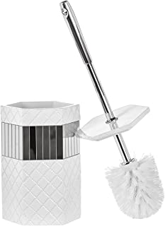 Creative Scents Bathroom Toilet Brush Set - Quilted Mirror Collection Good Grip Toilet Bowl Cleaner Brush and Holder Decor...