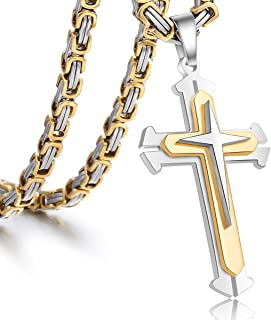 Trendsmax Polished Stainless Steel Gold Silver Cross Crucifix Pendant Necklace Chain for Mens Boys 5mm Byzantine Chain 22-30inch