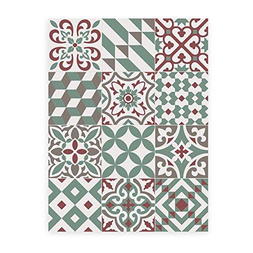 Küchenläufer Rutschfest und feuerfest. Eclectic Garnet 60x800cm. Diese Matte wird mit einem Mop leicht gereinigt. In Barcelona hergestellt. Wie Zementfliese in deiner Küche ohne Bauarbeiten.