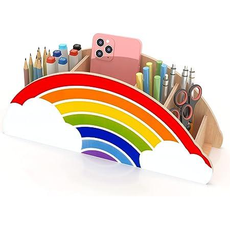 Gamenote Porte-crayon coloré pour enfants, Porte-stylo en bois pour le bureau, Organisateur de bureau pour fournitures de bureau et fournitures de pinceaux de maquillage