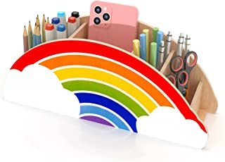 Gamenote Wooden Pen Holder & Pencil Holders - Rainbow Supply Caddy Phone Holder Desk Organizer for Office Supplies Makeup ...