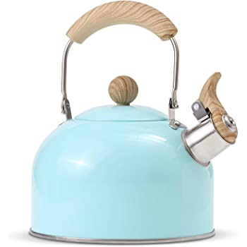 ROCKURWOK Tea Kettle, Stovetop Whistling Teapot, Stainless Steel, Blue, 2.43-Quart