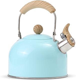 ROCKURWOK Tea Kettle, Stovetop Whistling Teapot, Stainless Steel, Blue, 2.43-Quart