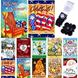 Country Charm Garden Flag Set of 10-12x18 Inch- Double Sided Yard Flag with Free Anti-Wind Clip and Stopper Outdoor Decorative Holiday Flags Decorative Flags for Outside 12x18