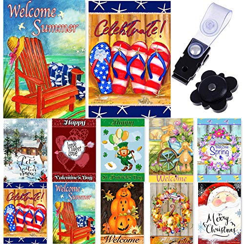 Seasonal Garden Flag Set of 10-12x18 Inch- Double Sided Yard Flag with Free Anti-Wind Clip and Stopper Outdoor Decorative Holiday Flags Decorative Flags for Outside 12x18 November Garden Flag