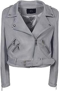 Women's Leather Jacket, Fashionable Autumn and Winter Style Folding Collar Diagonal Zipper Gothic PU Motorcycle Jacket,e,L
