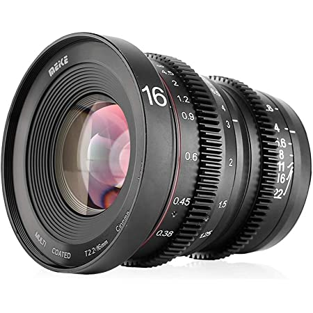 MEKE 16mm T2.2 Large Aperture Manual Focus Prime Low Distortion 4K Mini Cine Lens for Micro Four Thirds M4/3 MFT Compatible with Olympus/Panasonic Lumix Cameras and BMPCC 4K Zcam E2 GH5
