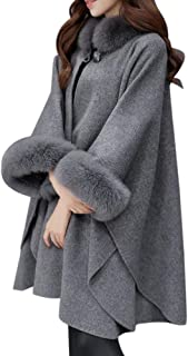 Ausexy Women Fashion Cardigan Cloak Loose Elegant Casual Woollen Fur Collar Coat Jacket Button Winter Warm Outwear Parka Women Clothing Tops