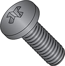 Steel Pan Head Machine Screw, Black Zinc Plated, Meets ASME B18.6.3, #1 Phillips Drive, #3-48 Thread Size, 3/8