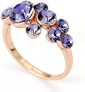 JNA Collection 18K Gold Plated Purple Swarovski Stones Promise Eternity Love Wedding Engagement Charm Sparkle Fashion Ring...