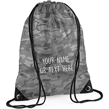 PERSONALISED Name and School Drawstring School Bag Gym PE Swim Kit Sports Kids