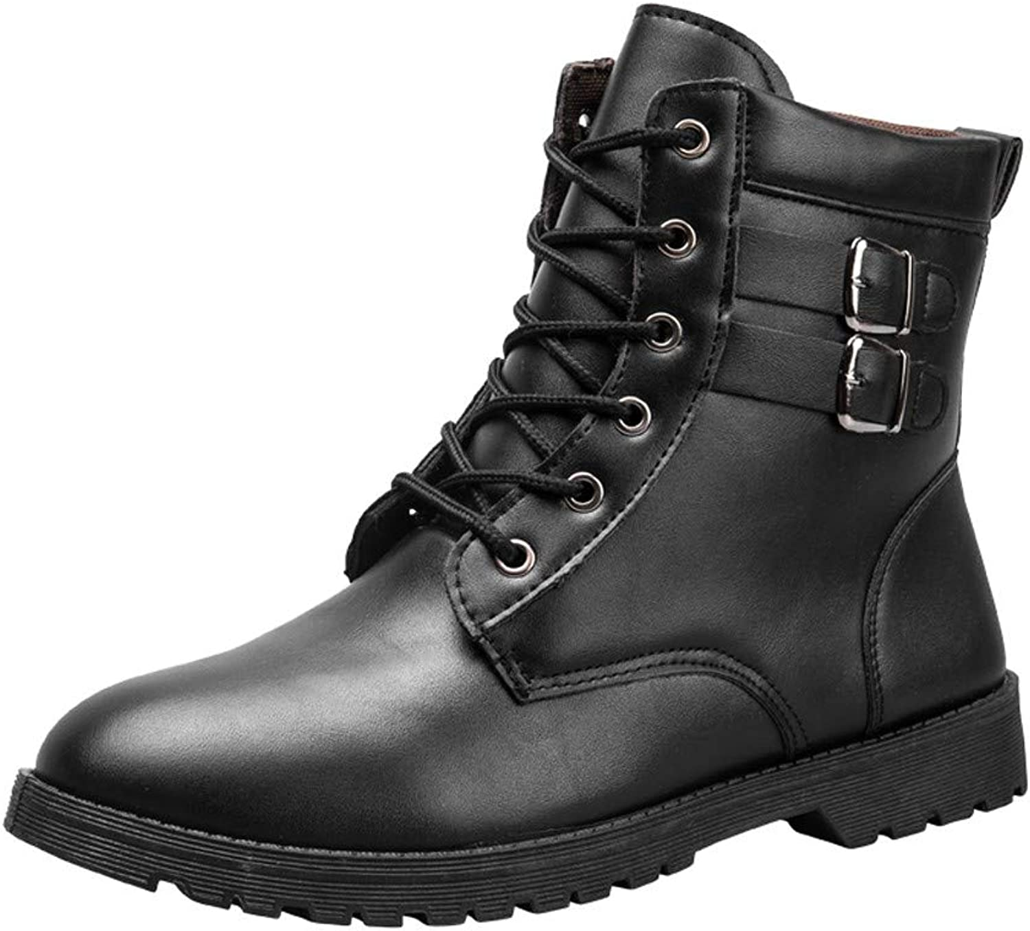 Fheaven Men Military Combat Boots Warm Winter Ankle Boots Lace up Buckled Strap Work Tooling Boots Yellow