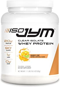JYM Supplement Science Iso Jym, 90 Calories, 100% Whey Protein Isolate, Zero Fat, Zero Sugars, Mixes Clear, for Women & Men, Mango Lime, 20 Servings
