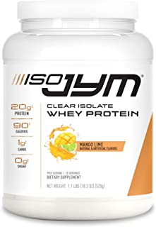 JYM Supplement Science Iso Jym, 90 Calories, 100% Whey Protein Isolate, Zero Fat, Zero Sugars, Mixes Clear, for Women & Me...