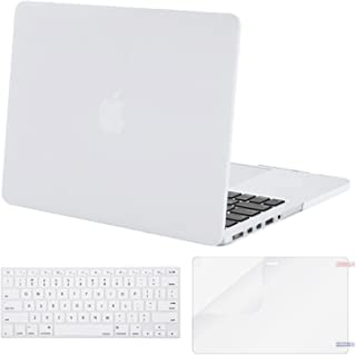 MOSISO Case Only Compatible with Older Version MacBook Pro Retina 13 inch (Models: A1502 & A1425) (Release 2015 - end 2012), Plastic Hard Shell & Keyboard Cover & Screen Protector, White
