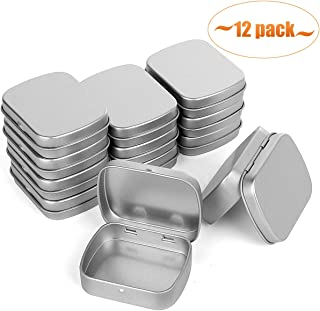 Aybloom Metal Hinged Lid Tin Containers - 12 Pack Metal Tin Box Mini Portable Box Containers Small Storage Kit for Drawing Pin Nail Art Bead Earring and Jewelry Craft Organizing (12 Pack, Silver)
