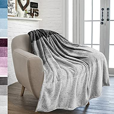 PAVILIA Flannel Fleece Charcoal Grey Throw Blanket | Soft Cozy Warm Plush Microfiber Lightweight | Gradient Ombre Decorative Luxury Velvet Throw| For Sofa Couch Bed | 50x60 Inches | All Season Use by