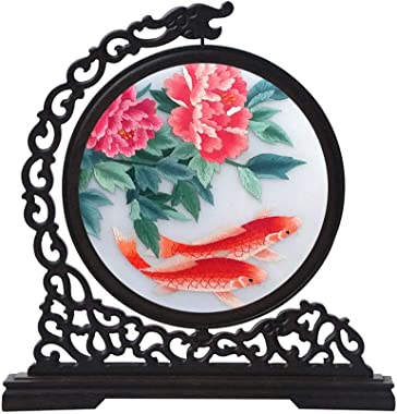 SXYD Koi Screens Handmade Double Sided Embroidery Traditional Chinese Art Decoration Home Desktop Decorative Screen or As A Gift