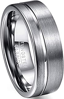 VAKKI 8mm Men's Polished Grooved Tungsten Carbide Rings Silver Grey Brushed Wedding Bands Flat Edge Comfort Fit Size 7-12