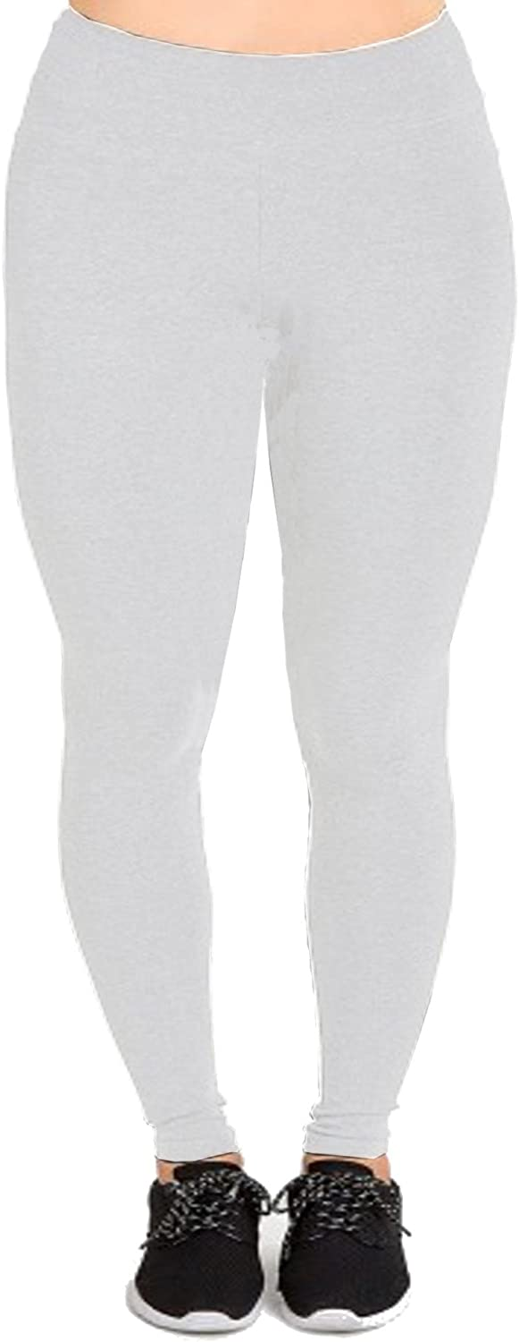 Women's Plus Size Cotton Solid Full Length Leggings (1X to 5X)