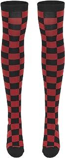 Ladies Checkerboard Overknee Socks Calcetines casual para Mujer